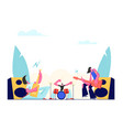 rock band performing on stage electric guitarists vector image vector image