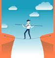 rope walker risk flat design vector image