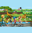 scene with animals and kids at open zoo vector image vector image