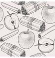 Seamless apple and cinnamon vector image
