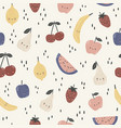 seamless pattern with cute different fruits vector image vector image