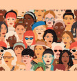 seamless pattern with diverse female faces crowd vector image vector image