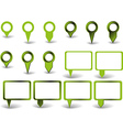 Set of green pointers on white background with vector image vector image
