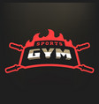 sports gym logo on a dark background vector image vector image