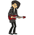 stylish teenager boy guitarist vector image