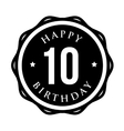 Ten years happy birthday badge ribbon vector image vector image