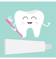 Tooth icon Toothpaste and toothbrush Cute funny vector image vector image