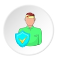 Trauma head of man and sign safety icon vector image vector image