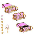 treasure chest with pink gemstones vector image vector image