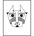 unusual hand draw with a head of dog face portrait vector image vector image