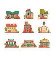 urban and suburban buildings facade set brick vector image vector image