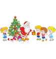 santa with gifts for children vector image