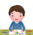 Cute boy drawing with colorful pencils vector image