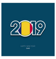 2019 chad typography happy new year background vector image vector image