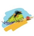 Amphibian crawling out of the water onto dry land vector image vector image
