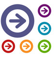 arrow in circle icons set vector image vector image