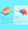 back to school education posters with isolated 3d vector image vector image