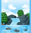 background scene with waterfall and trees vector image vector image