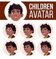 boy avatar set kid black afro american vector image vector image