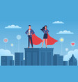 business heroes woman and man with red vector image