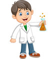 cartoon boy scientist holding test tube vector image