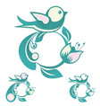 circular ornament with a bird leaf and flower vector image vector image