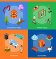 city public park or square banner card set 3d vector image vector image