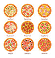 classical italian food pizza top view in cartoon vector image vector image