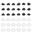 cloud icon filled and outline deign editable vector image