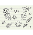 Collection of Cartoon Doodle Monsters 4 vector image