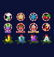 complete set christmas icons for slots vector image vector image