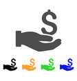 dollar donation hand icon vector image vector image