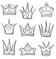 doodle style set of crown hand draw vector image vector image