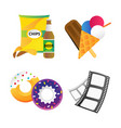 fast food and film cinema technology vector image vector image
