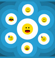 flat icon gesture set of smile joy wonder and vector image vector image