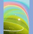 green grass over a blue sky background a rainbow vector image vector image