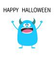 happy halloween cute blue monster icon cartoon vector image vector image
