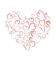 Heart made up of little hand drawn pink hearts vector image vector image