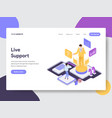 landing page template of live support concept vector image vector image