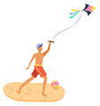 man on beach having fun with kite isolated person vector image vector image
