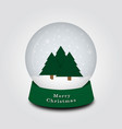 merry christmas snow globe with christmas tree vector image