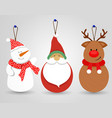 merry christmas snowman santa decoration ornament vector image vector image
