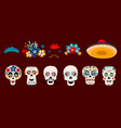 mexican dead sugar heads vector image vector image