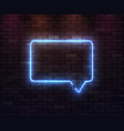 neon frame speech bubble on dark brick background vector image