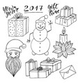 new year collection with santa and snowman vector image vector image