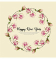 new year watercolor floral wreath vector image vector image