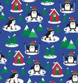 penguins ski scene vector image
