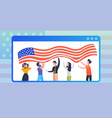people with usa flag celebrating 4th july in vector image vector image