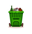 plastic container with glass waste green garbage vector image