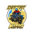 quad bike in desert hills logo isolated vector image vector image
